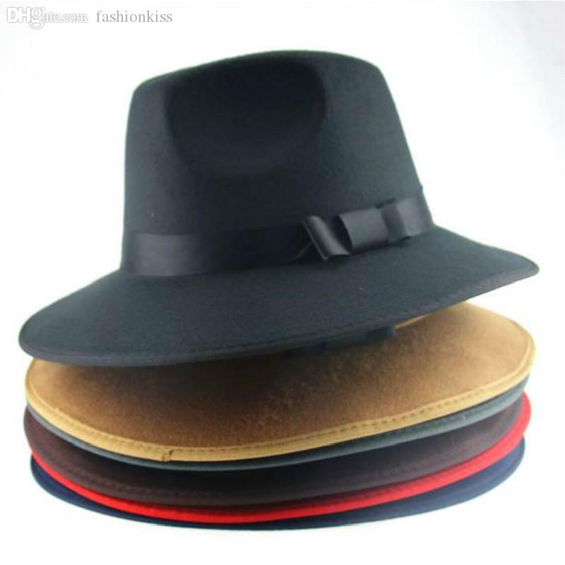 75dd7d171 Wholesale-Vintage Men Women Jazz Bowknot Hard Felt Hat Wide Brim Fedora  Trilby Panama Hats Gangster Sun Cap