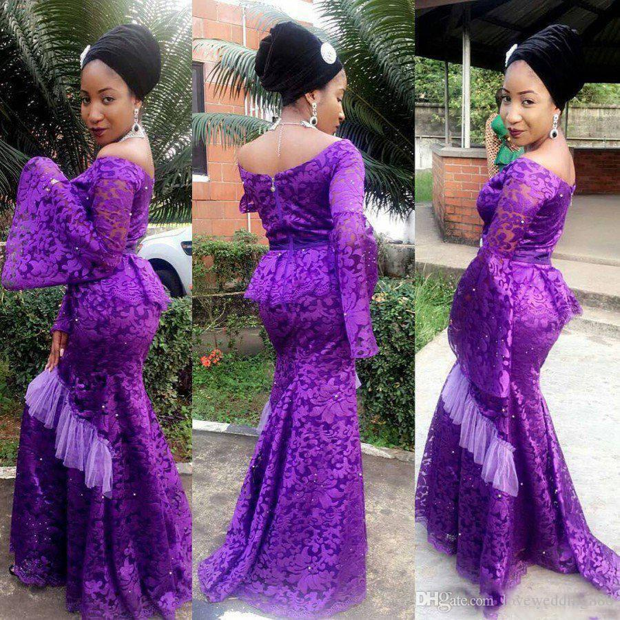 2018 Aso Ebi Style Mermaid Full Lace Prom Dresses Long Poet Sleeve Purple Women Plus Size Formal Clothing Evening Gown