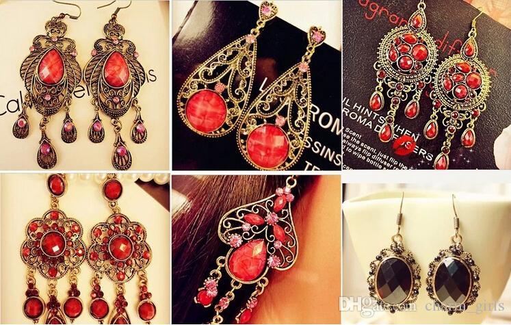 Mélange aléatoire 10 style es / Boucles d'oreilles pendantes en argent / bronze tibétain Vintage résine boucles d'oreilles