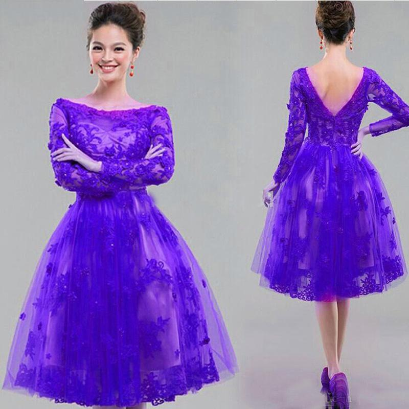 5f03b22fabb Vintage Lace Appliques Long Sleeves Party Dresses A Line Bateau Neckline  Illusion Knee Length Short Tulle Prom Gowns Royal Purple Fuchsia Party  Dresses For ...