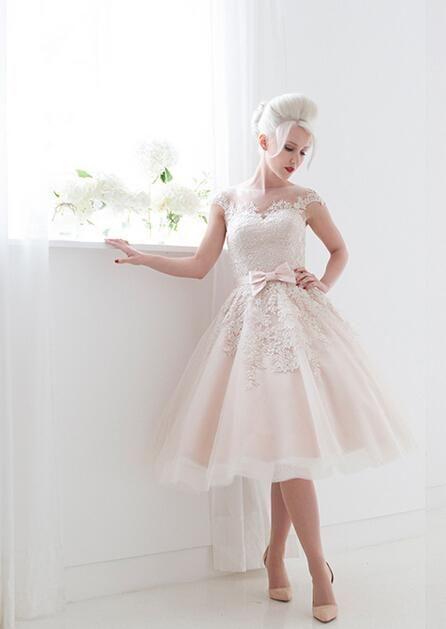 Vintage Tea Length Wedding Dresses With Sleeves Short Beach Sheer Illusion Bow Belt Blush Pink 2016 Gowns On Sale Elegant