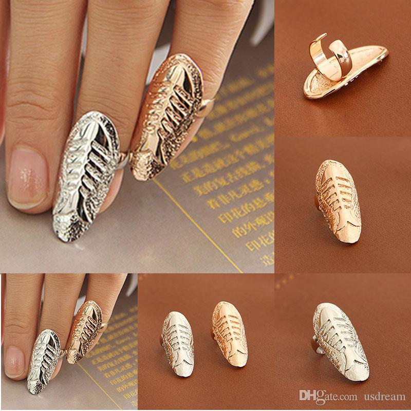 Fashion Fish Fossil nail rings alloy gold silver fish bone band finger rings women statement jewelry finger Nail art Sticker rings 080039
