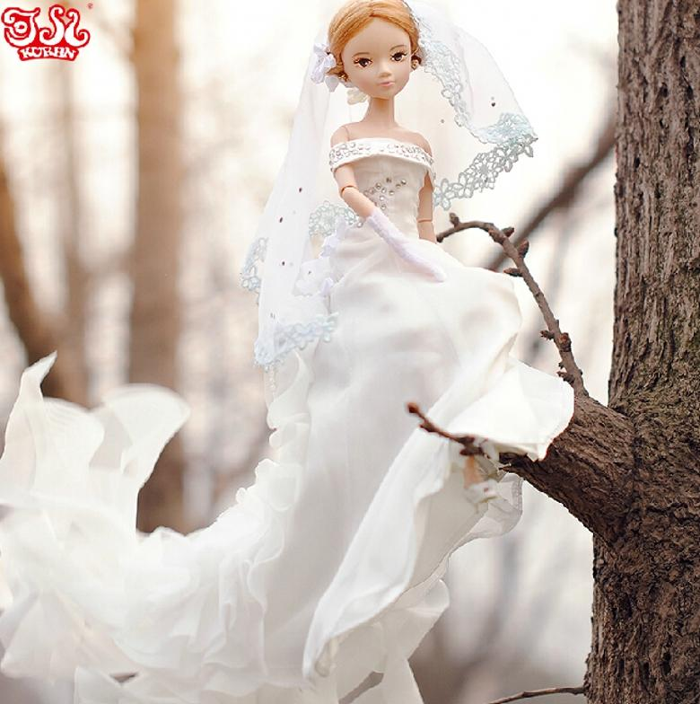 Real Image Chrismas Gift Barbie Doll Wedding Dress Model Princess Toys Dolls For Girls Bride Series Joint Body W250 Dresses 18