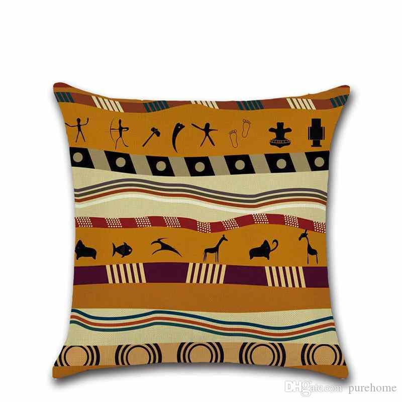 Druck Afrikanischen Nationalen Stil Kissenbezug Leinen Kissenbezug Sofa Auto Kissenbezug 45 * 45 CM Home Cafe Office Dekoration Geschenk für Freund