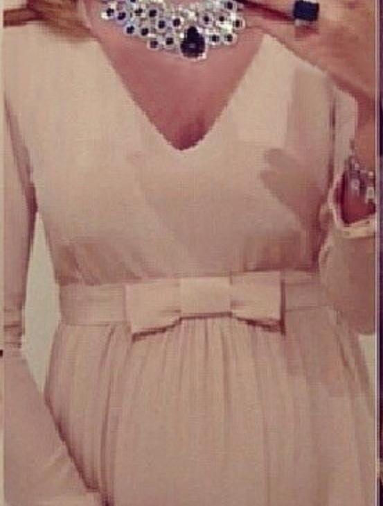 2019 Blush Chiffon A Line Abiti da sera con maniche lunghe Nuovo elegante scollo a V maternità incinta Abbigliamento Arco a telaio Abiti occasioni speciali