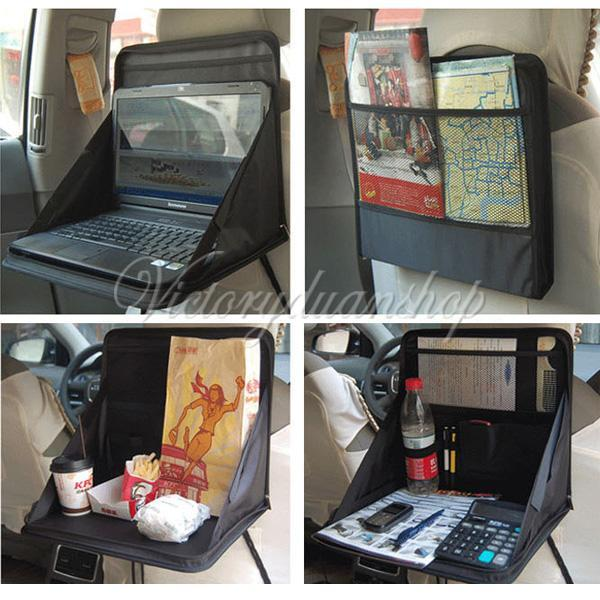 Travel Car Laptop Holder Tray Bag Mount Back Seat Food