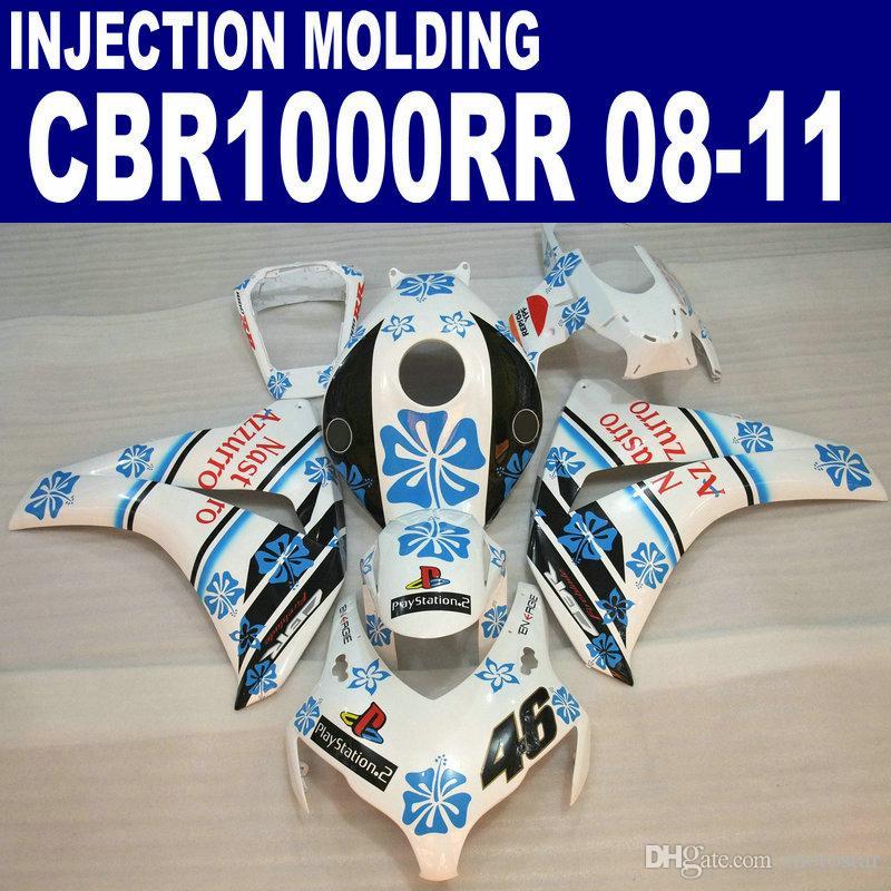 Injection molding for HONDA CBR1000RR fairing kit 2008 2009 2010 2011 black  blue white CBR 1000RR plastic fairings 08 09 10 11 #U22