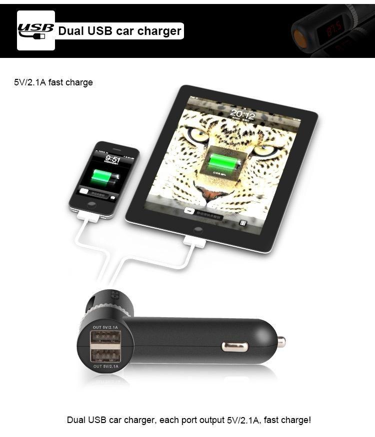 Neueste Universal Car Bluetooth Kit MP3 Player FM Transmitter Dual USB Ladegerät LED-Anzeige Freisprecheinrichtung Wireless Car Kit Schwarz BC08