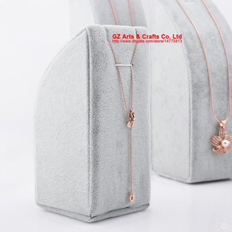 Gratis frakt Black Grey Velvet Hänge Halsband Kedjevisning Stativ Bracelethållare / Set Smycken Förpackning Visar