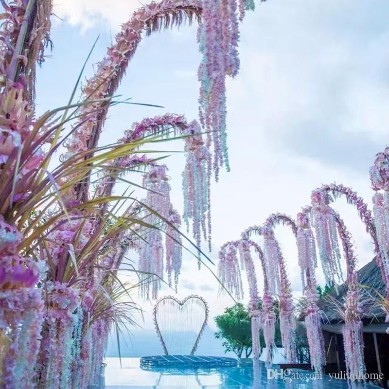 Artificial guirnalda seda Hydrangea flores de la boda de alta densidad de la flor de la secuencia del pétalo decoraciones de la boda fuentes del partido Color mezclado al por mayor