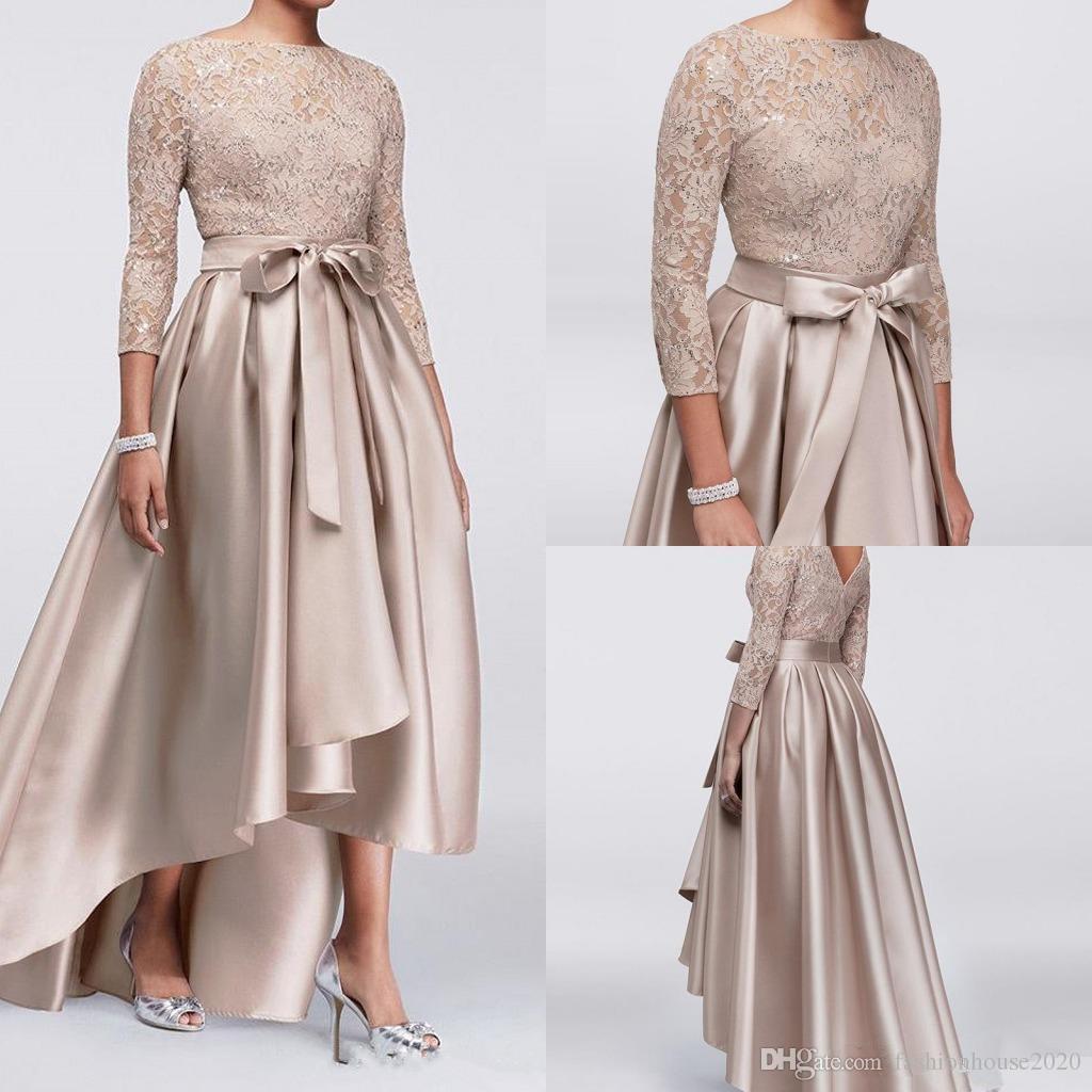 2018 Madre de los vestidos de novia Champagne encaje apliques de lentejuelas Top 3/4 mangas largas de satén de alta baja Fajas madre del vestido de la novia