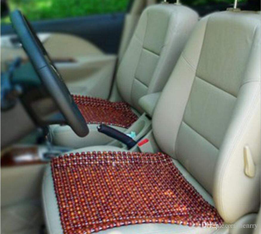 Brown Wooden Beads Car Seat Cushion Cool Side Massage Pad Refreshing Summer Heat Mat Supplies Four Seasons General Child Seats Combi