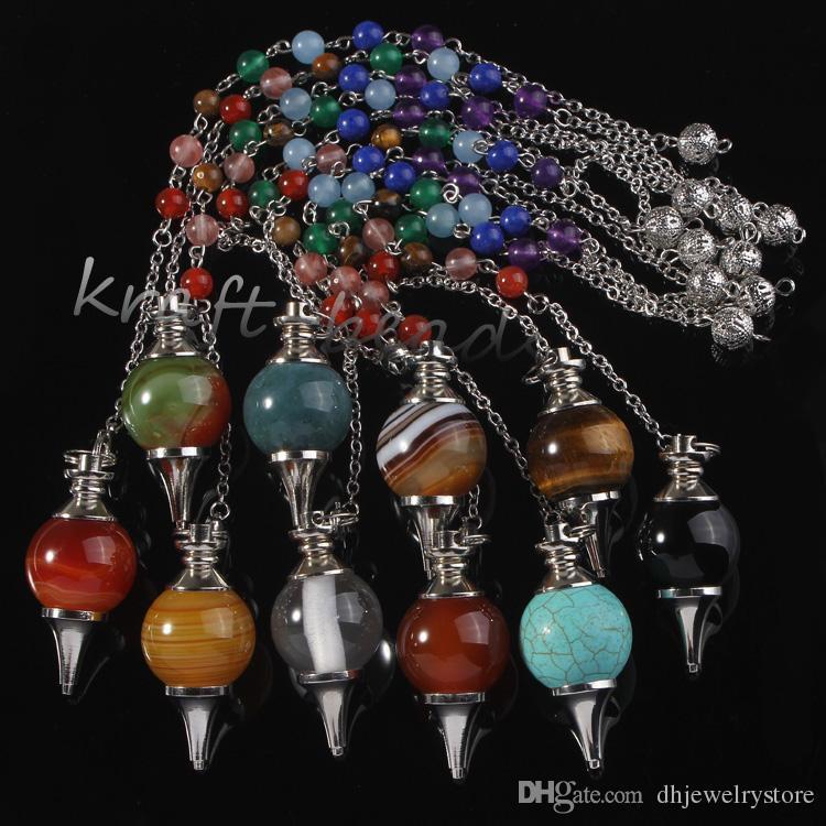 wholesale Natual Silver 7 Stone Beads Chain Mixed Quartz Agate Stone Chakra Healing Point Dowsing Pendulum Pendant Jewelry
