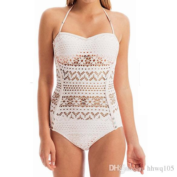 New White Black One-Piece Swimsuit Sexy Hollow-Out Bathing Suit Push-Up Halter Monokini Plus Size Swimwear Beachwear S-XXL CCF0269