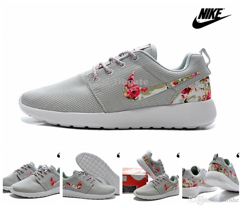 pretty nice c0db3 5f593 ... flyknit dcbb4 96232 italy 2015 nike women men grey flower logo floral roshe  run running shoes cheap roshes run ...