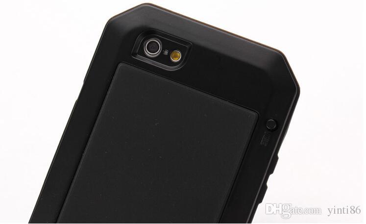 Hochwertiger wasserdichter Metallaluminiumkasten für iphone 6 6s 4.7inch plus Fall + Gorilla-Glasschlüsselabstands-Telefon-Kasten mit Luftblasenbeutel