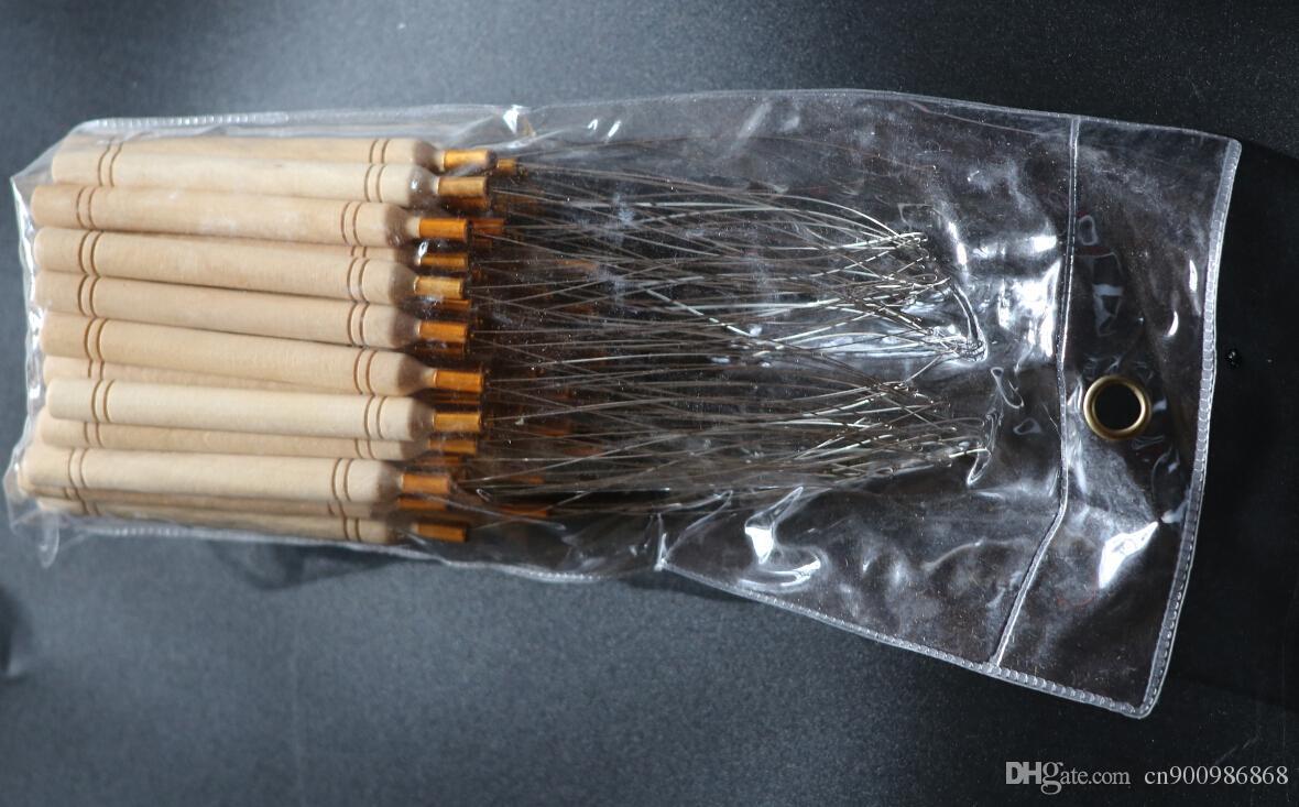 50 stks / partij, houten handvat Treking Loop Naald Hair Extensions, Hair Extension Tools + Gratis verzending