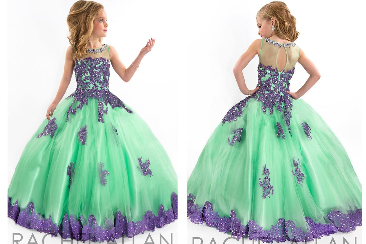 Handmade Pageant Dresses For Girls Lace Applique Spaghetti Purple ...
