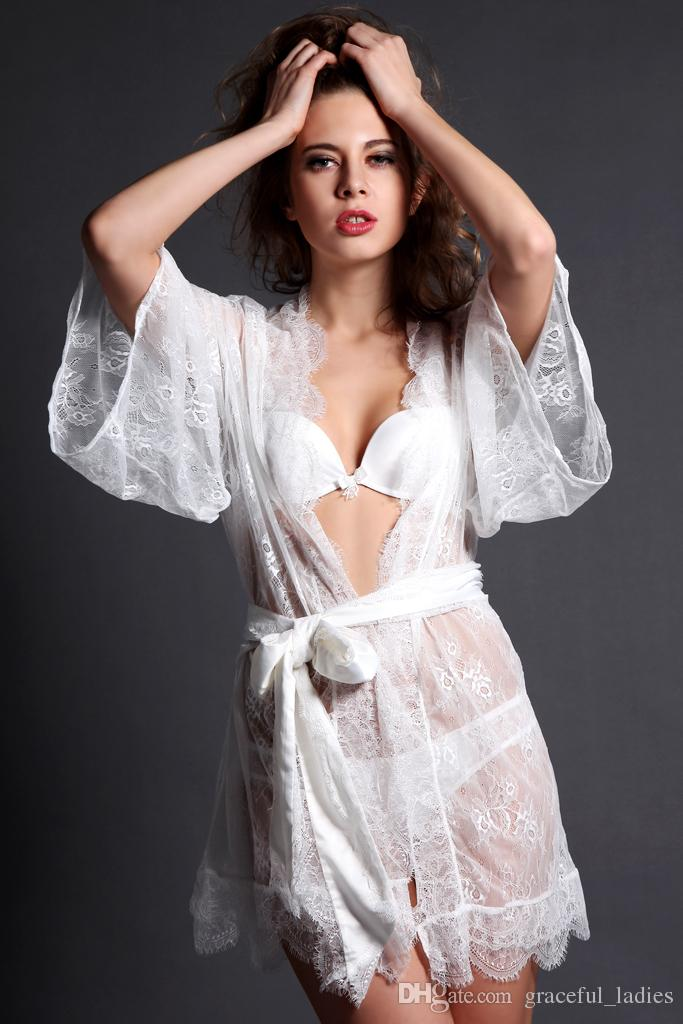 White And Black Lace Bridal Robes Sleepwear Long Sleeve See Through ... bb0a460e6