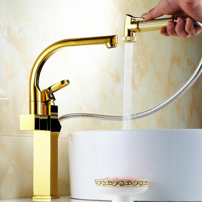 Three Color Gold ,rose Gold, Chrome Solid Brass Faucet Single Hole ...