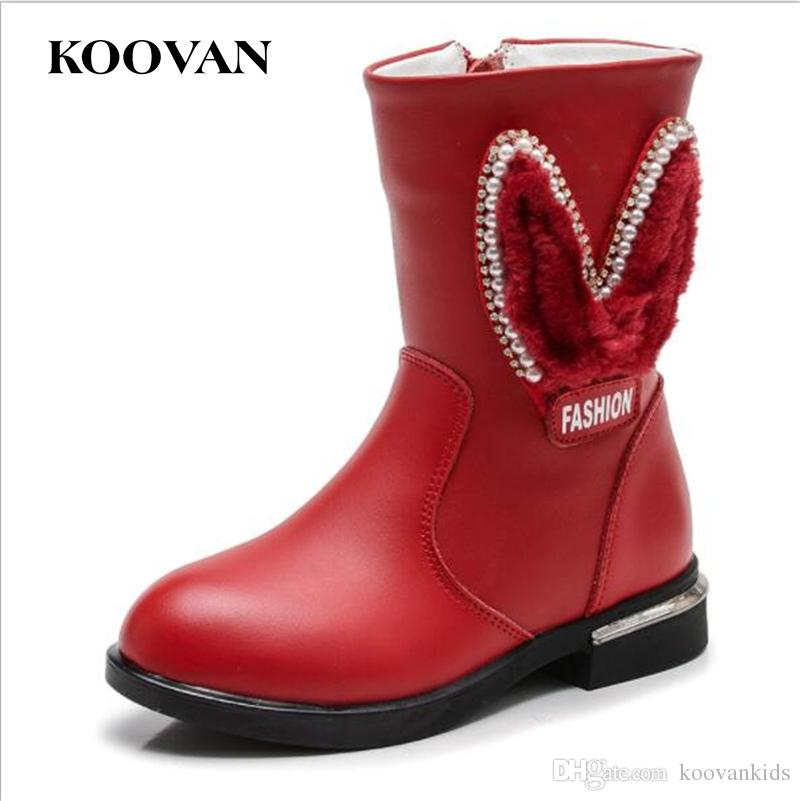 0c062ad618d49d Koovan Kids Rhinestone Princess Half Boots Girl Fur Snow Boot 2017 ...