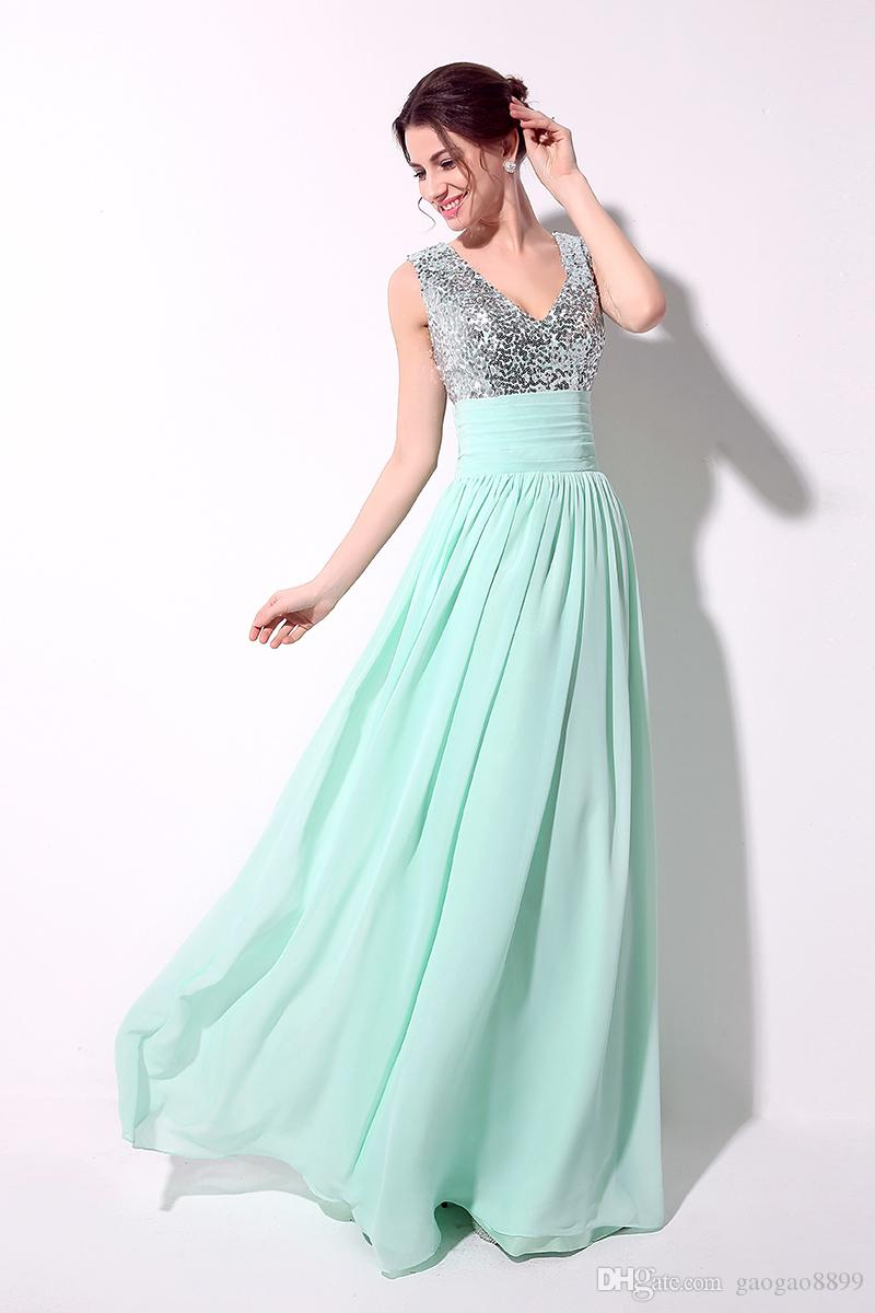 Real Image Sequins Chiffon Prom Dresses A line V Neck Sky Blue Green Red Champagne Black Sexy Bridesmaid Formal Evening Gowns 2015 Cheap