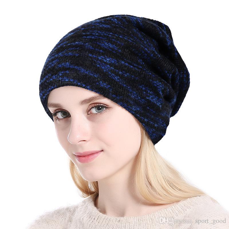 Hiver hommes femmes bonnets chauds bonnet de laine chaud sports de plein air plus chapeau en tricot de cachemire randonnée ski sports chapeaux bonnets