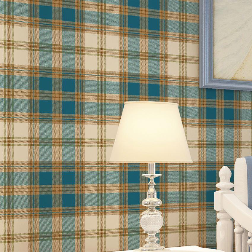 England grid wallpaper British American pastoral Scottish plaid non-woven wallpaper living room modern bedroom wallpaper