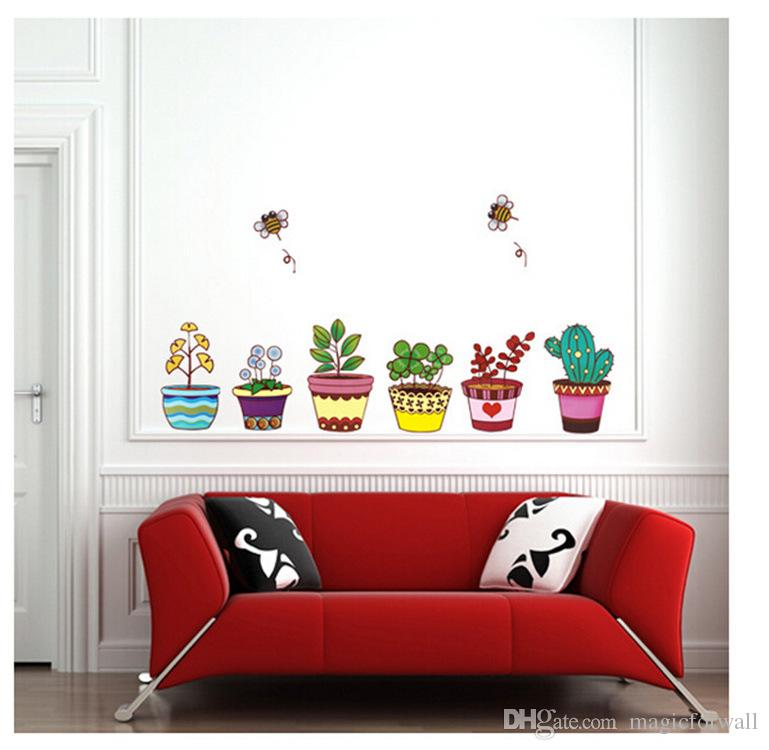 New Flowerpot Wall Art Decal Sticker Removable PVC Fresh Planter Home Decoration Wallpaper Mural Decor Bees Flying around Flowers Decal