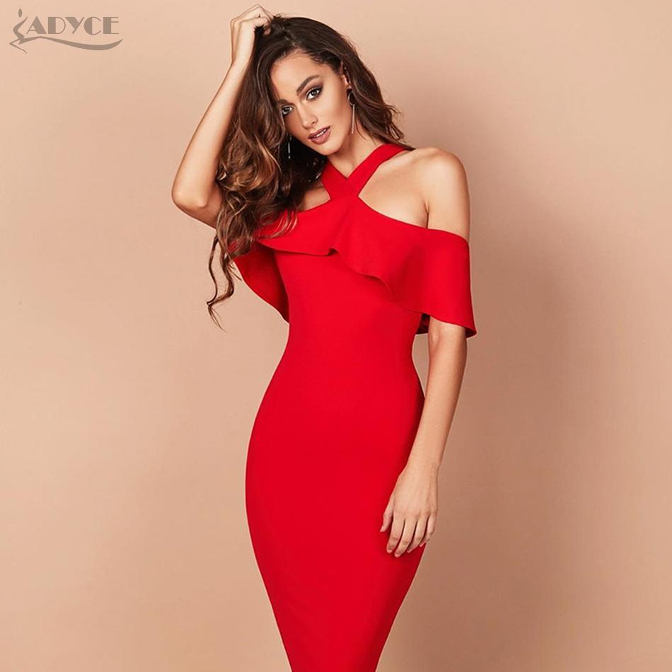 0136afcc55 Wholesale- Adyce 2017 Hot Sale Winter Party Dress Red Black White Ruffles  Patchwork Off the Shoulder Vestidos Celebrity Women Bandage Dress
