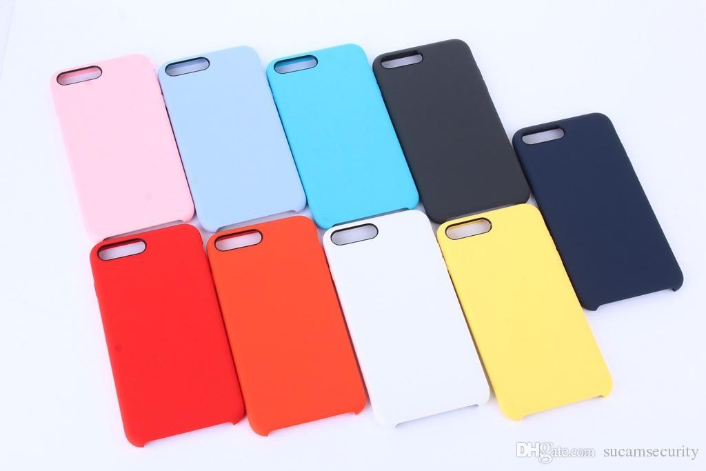 Venda quente líquido Silicone Case Para iPhone X iPhone 8/7/6 além de logotipo com Saco de Varejo Frete Grátis
