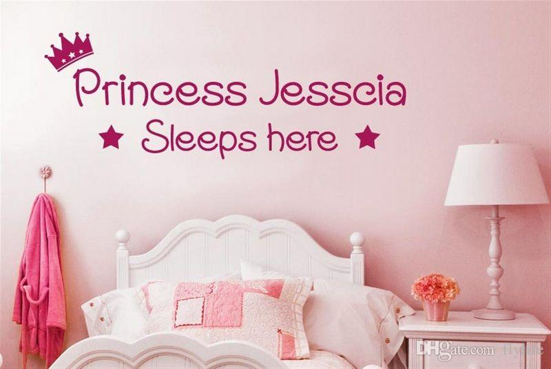 Personalised Prince or Princess Sleeps here Vinyl Wall Stickers Decals Art kids childrens Room Decor