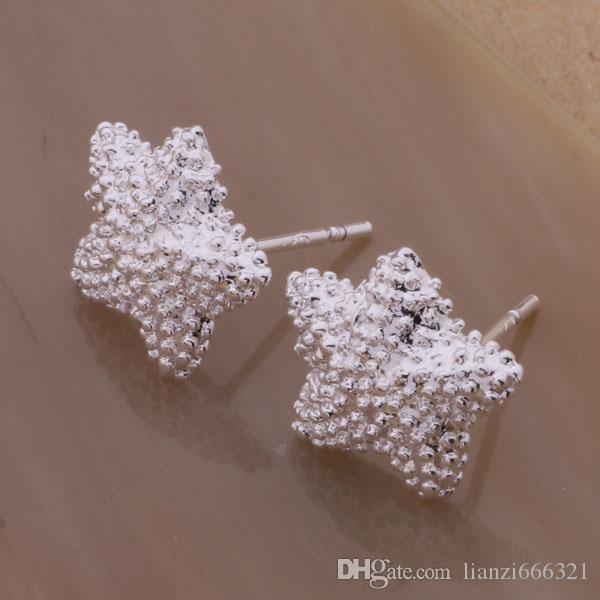 Mode bijoux Fabricant beaucoup d'argent boucles d'oreilles étoiles de mer 925 prix usine de bijoux en argent sterling service de la mode Boucle d'oreille