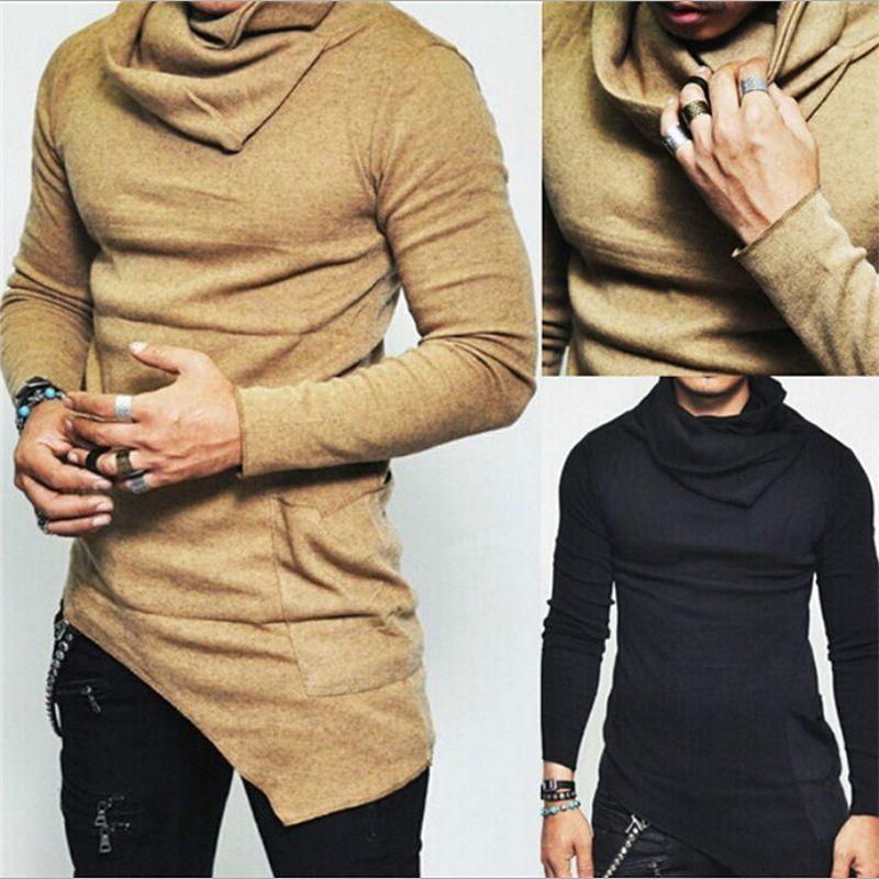Yeni 2018 Moda Kore Casual Yığın Yaka Uzun Kollu Gömlek Erkekler Düzensiz Tasarımcı Slim Fit T Gömlek Düz Renk Uzun Bölüm Kazak S-5XL