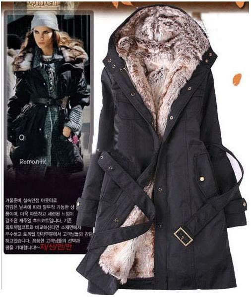 Women Down Parkas Lady Winter Clothing Outerwear Faux Fur Lining ...