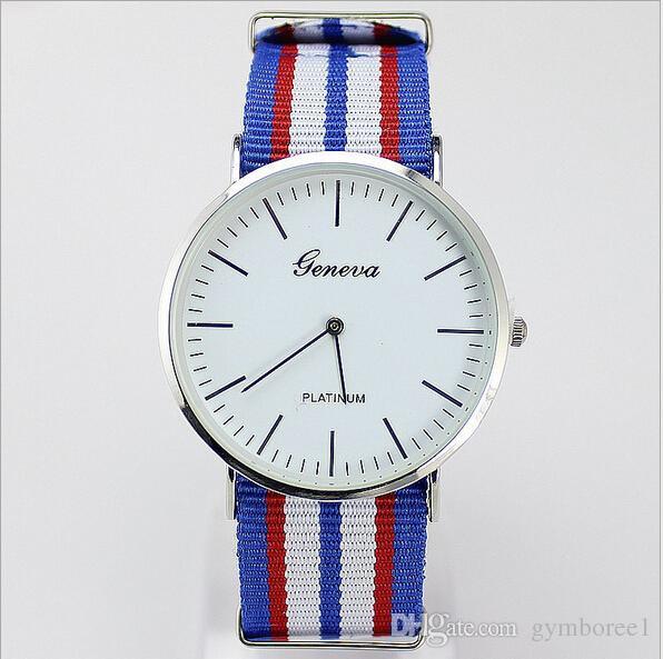 Factory Outlets Drop Versand Armbanduhren Genf multicolor gestreiften Leinwand Band Armbanduhr EUUS Stil Student Quarzuhr