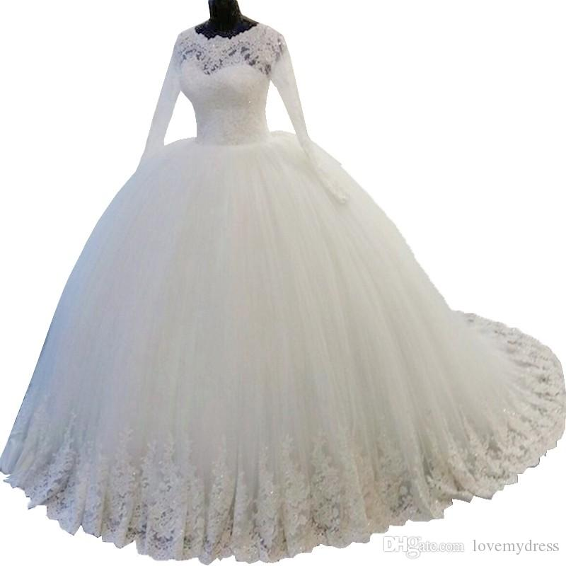 Amazing Real Photo Plus size Lace Ball Gown Wedding Dress Gown With Illusion Long Sleeves 2018 Tulle Cheap Country Style Beaded Custom
