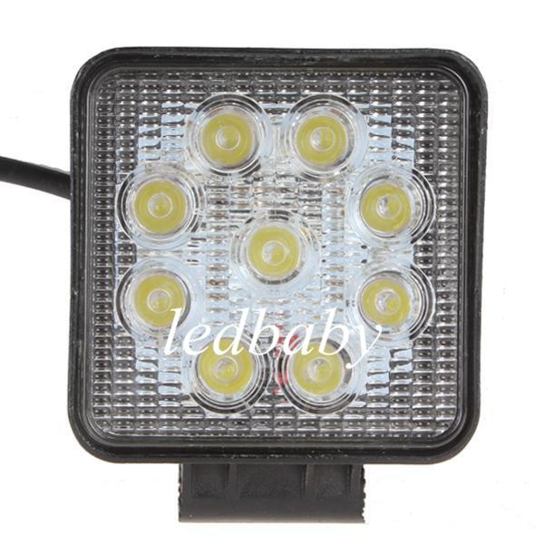 1800LM 27W High-power 9X 3W Bead LEDs working light Square Offroad LED car Work Light bar