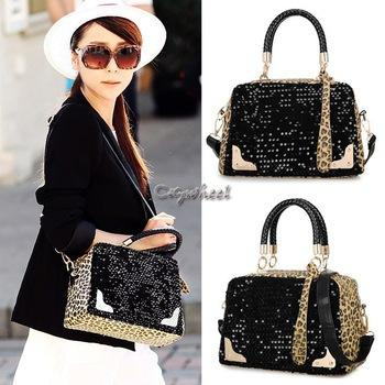 New Women Handbags Leopard Print Paillette Casual Shoulder Bags ...