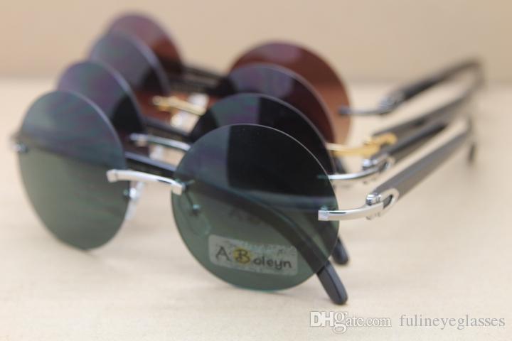 라운드 핫 선글라스 블랙 버팔로 정품 혼 패션 선글라스 절묘한 무테 안경 남자 3524012를위한 C 장식 크기 : 57-18-140mm