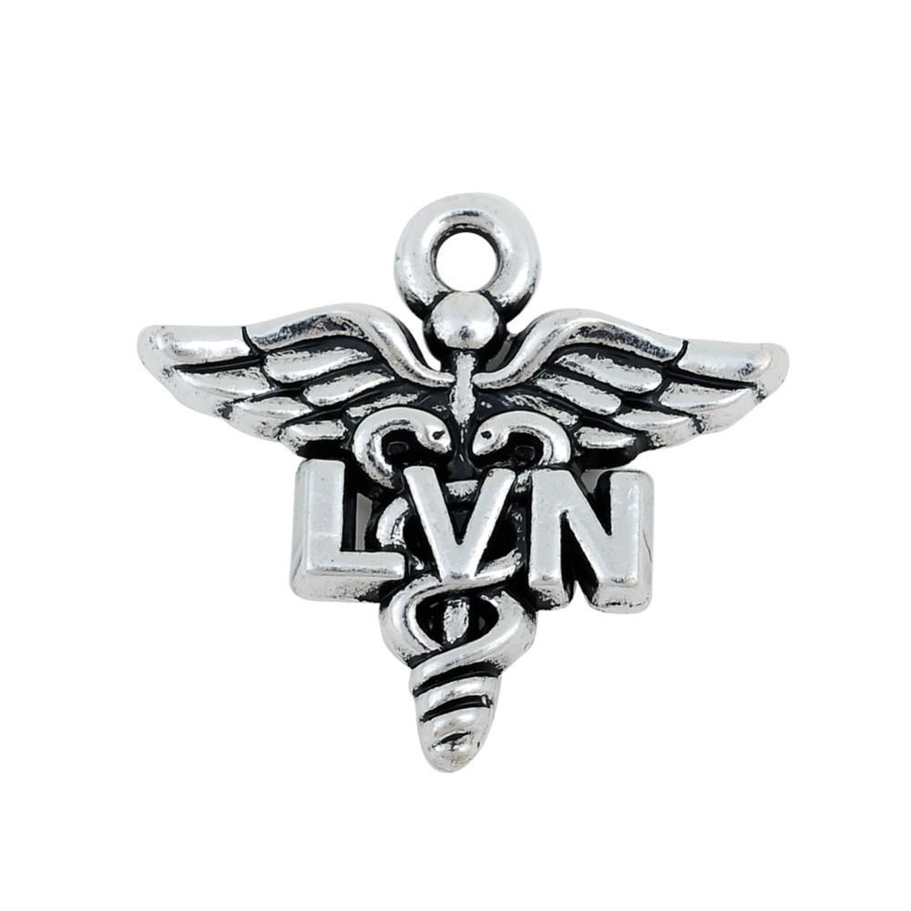 Antique Silver Plating Medical Licensed Vocational Nurse LVN Charms Caduceus Medical Symbol Charms AAC178