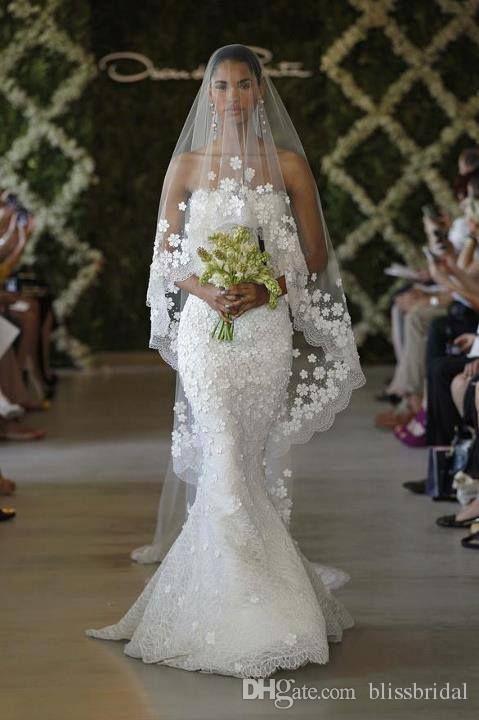 EW Designer Long Chapel Train Wedding Blush Veils Tulle Sheer Lace Edge One Layer White Ivory Appliques Brudslöjor