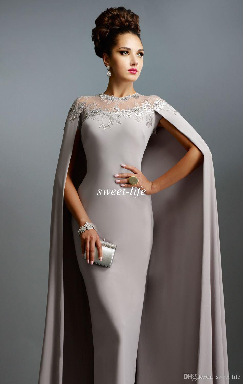 Longue Sexy Formelle Robe De Célébrité 2019 Elie Saab Cape Vintage Robes De Soirée En Dentelle Pure Cou Cou Bon Marché Gaine Robes De Bal