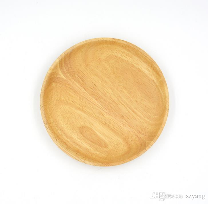 Round Wooden Plates For Restaurant Natural Wood Tray Serving Small Large Japanese Dishes Tableware