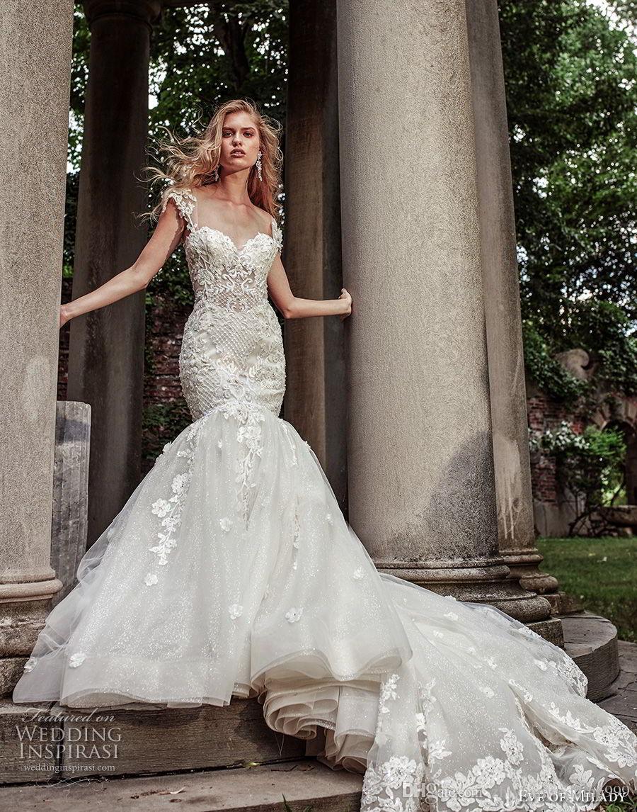 Heavily Embellished Bodice Elegant Mermaid Wedding Dresses 2018 Eve ...