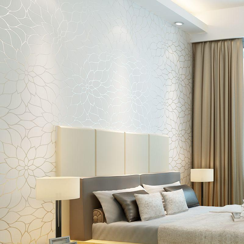 Modern and simple beige non woven wallpaper bedroom living for Beige living room wallpaper