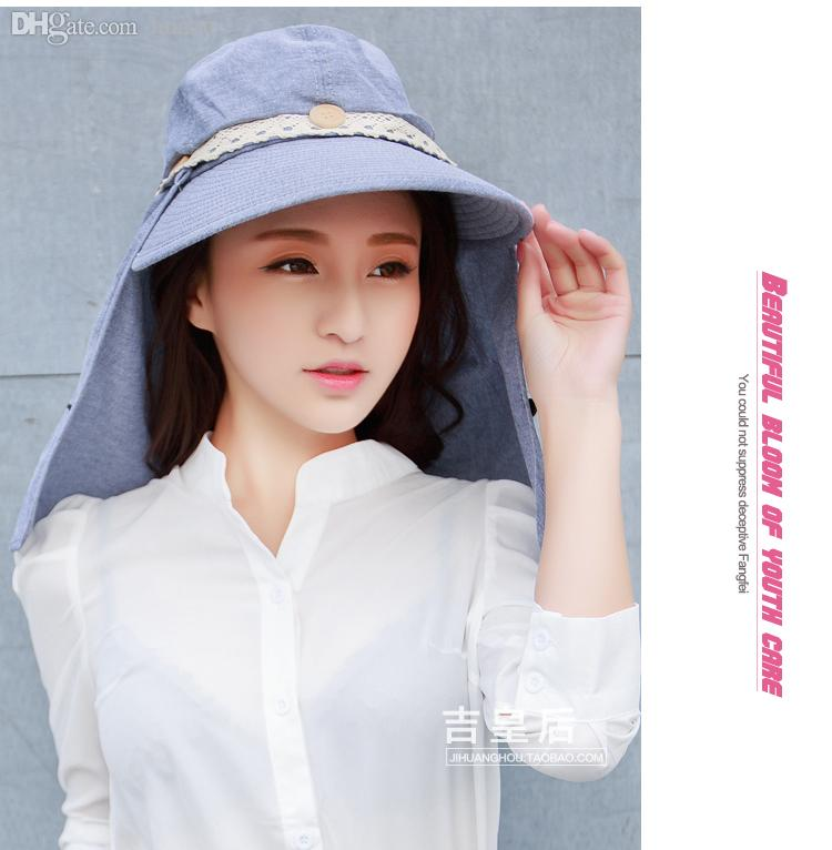 Wholesale Floppy Summer Women S Hat Large Wide Brim And Big Head Protection  Back Neck Anti Uv Chapeu De Sol Ladies Beach Hat Free Pork Pie Hat Snapback  Hats ... f7fe504bcc1