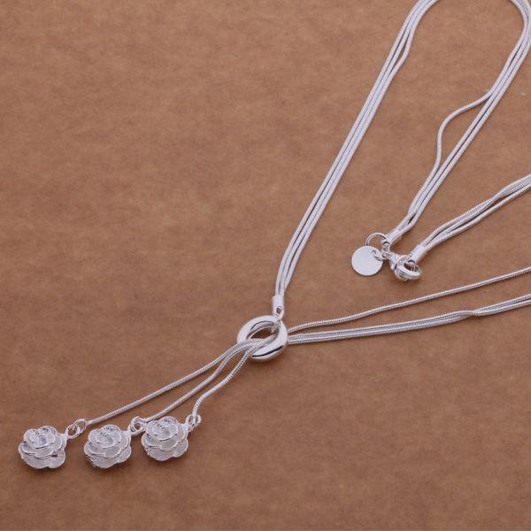 Freies Verschiffen mit Spurhaltungszahl bestem heißem Verkauf der Frauen empfindliches Geschenk-Schmucksachen 925 silberne 3 Schicht Kette 3 rosafarbene Halskette