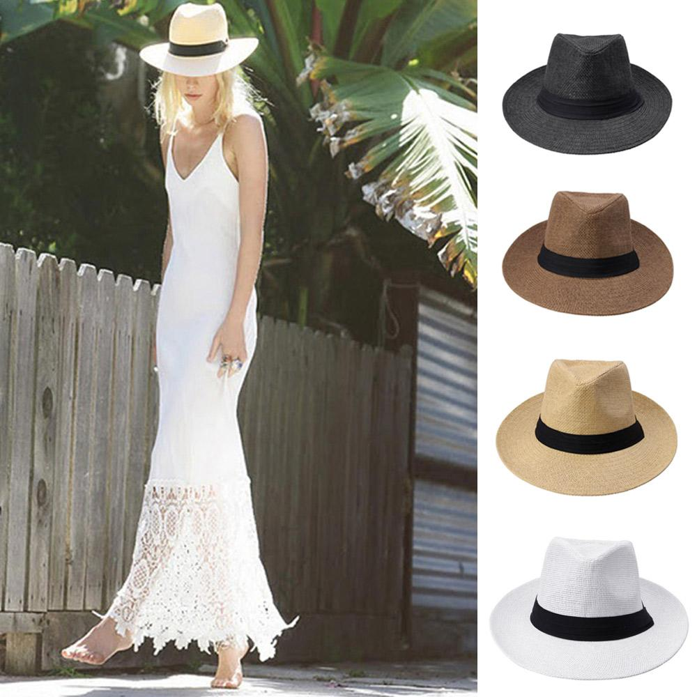 2015 Fashion Men Women Panama Sun Hats Summer Contrast Color Straw Ribbon  Pinched Crown Rolled Trim Floppy Hat Beach Hats MZ006 Fedoras Beanie Hats  From ... f23914a9f7b