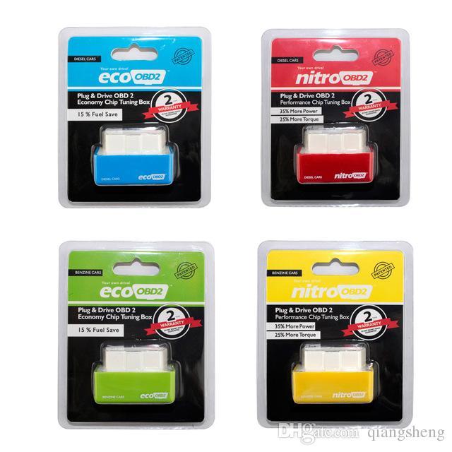 100 adet / grup DHL ÜCRETSIZ Eko obd2 / Nitro OBD2 Dizel / Benzin Araba Chip Tuning Kutusu Fiş ve Sürücü OBD2 Chip Tuning Kutusu